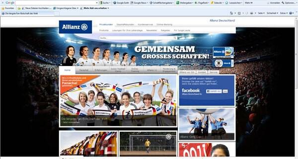 Allianz unterstützt die deutsche Frauen Fußball-Nationalmannschaft mit der längsten Fanbotschaft der Welt