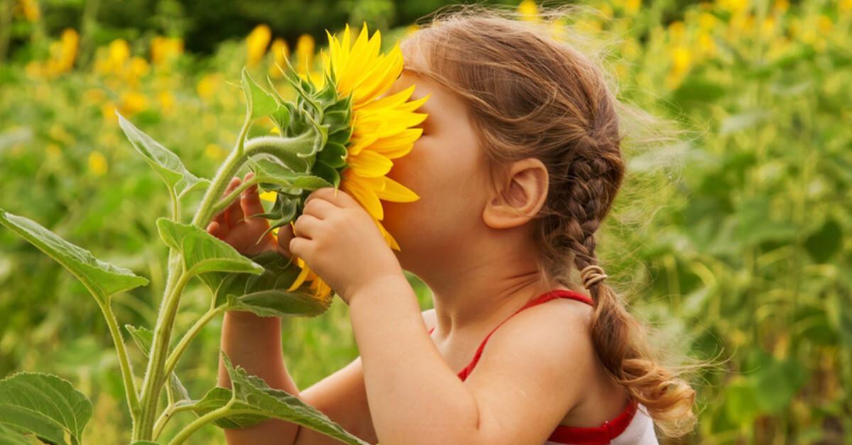 Kinder und Pflanzen