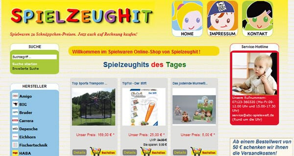 Zum Spielzeug online kaufen eignet sich die Webseite spielzeughit.de