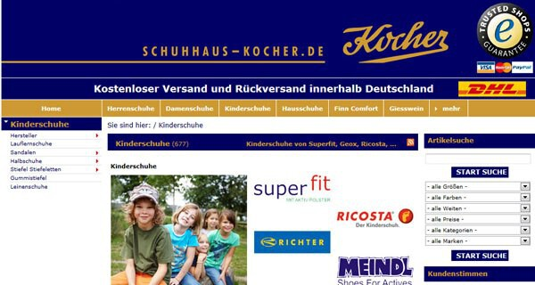 Auf der Webseite schuhhaus-kocher.de finden Eltern eine große Auswahl an Kinderschuhen