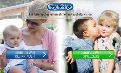 Die italienische Marke Peg-Perégo bietet Kinderwagen und Co.