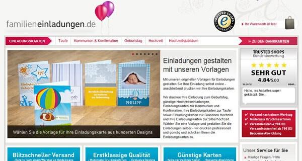 Die Seite Familieneinladungen.de und ihr Angebot für Feiern und diverse Anlässe im Portrait