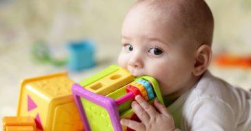 Baby kaut auf Spielzeug